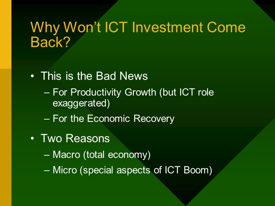 Why Won't ICT Investment Come Back.