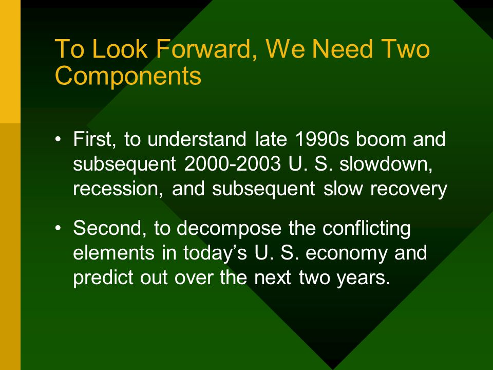 To Look Forward, We Need Two Components First, to understand late 1990s boom and subsequent 2000-2003 U.