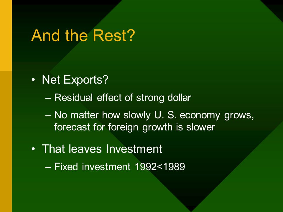 And the Rest? Net Exports? –Residual effect of strong dollar –No matter how slowly U. S. economy grows, forecast for foreign growth is slower That lea