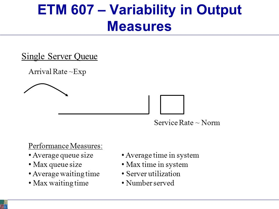 ETM 607 – Variability in Output Measures Made a total of five runs of the simulation.