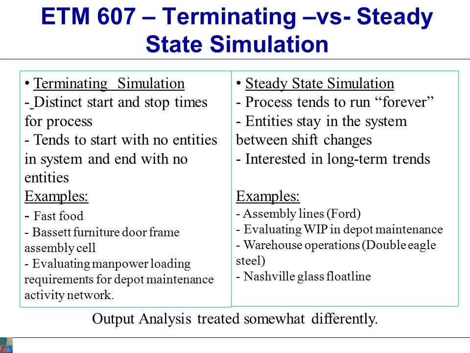 ETM 607 – Point Estimation For Terminating Simulation Point Estimation – Terminating Simulation: Statistical mean or average or Tally Time-Persistent