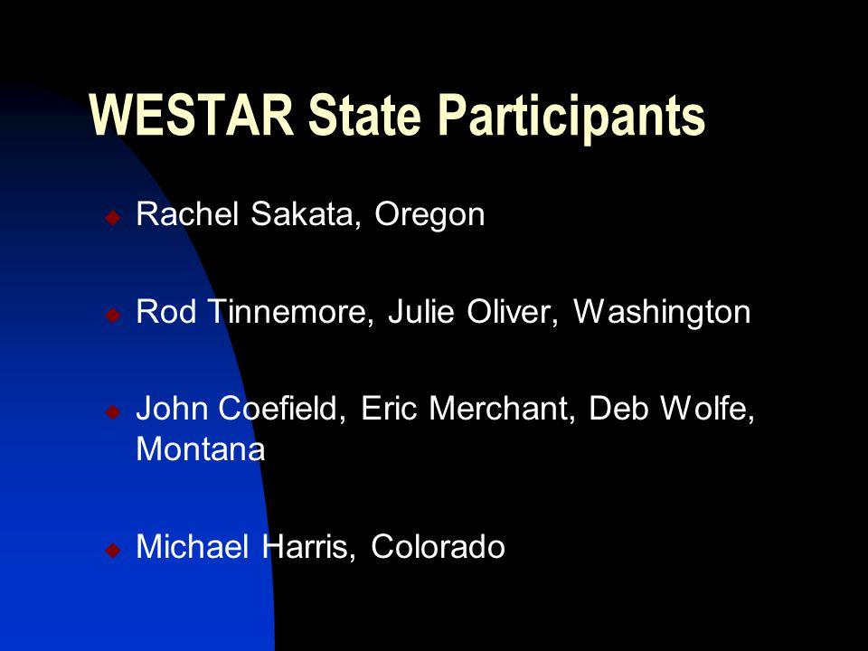 WESTAR State Participants  Rachel Sakata, Oregon  Rod Tinnemore, Julie Oliver, Washington  John Coefield, Eric Merchant, Deb Wolfe, Montana  Michael Harris, Colorado