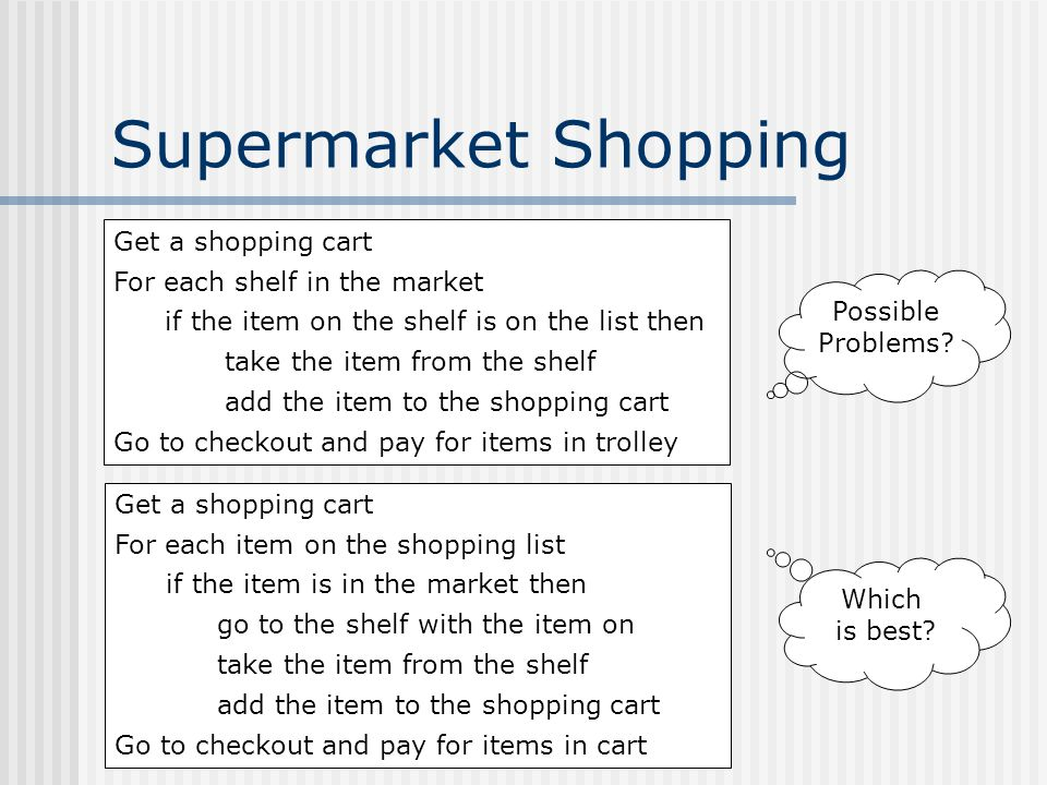 Supermarket Shopping Get a shopping cart For each shelf in the market if the item on the shelf is on the list then take the item from the shelf add the item to the shopping cart Go to checkout and pay for items in trolley Get a shopping cart For each item on the shopping list if the item is in the market then go to the shelf with the item on take the item from the shelf add the item to the shopping cart Go to checkout and pay for items in cart Possible Problems.