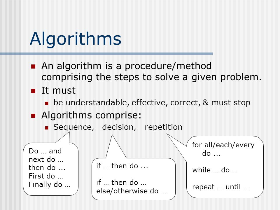 Algorithms An algorithm is a procedure/method comprising the steps to solve a given problem.