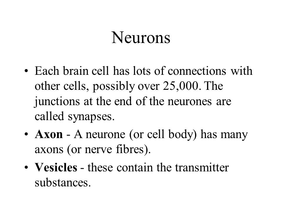 Neurons Each brain cell has lots of connections with other cells, possibly over 25,000.
