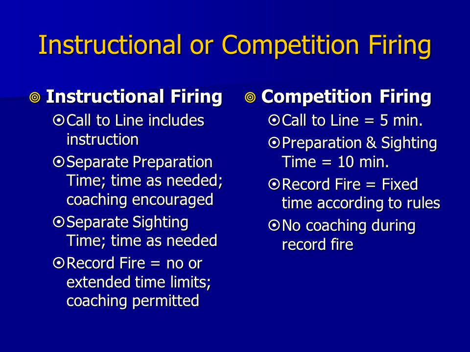 Instructional or Competition Firing  Instructional Firing  Call to Line includes instruction  Separate Preparation Time; time as needed; coaching encouraged  Separate Sighting Time; time as needed  Record Fire = no or extended time limits; coaching permitted  Competition Firing  Call to Line = 5 min.