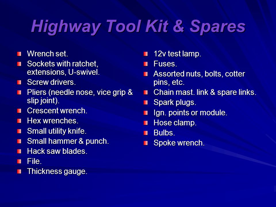 Highway Tool Kit & Spares Wrench set. Sockets with ratchet, extensions, U-swivel.
