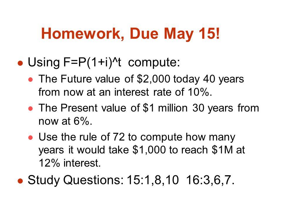 Homework, Due May 15.
