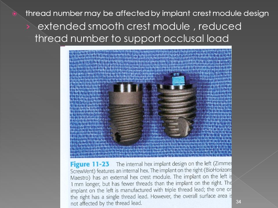  thread number may be affected by implant crest module design › extended smooth crest module, reduced thread number to support occlusal load 34