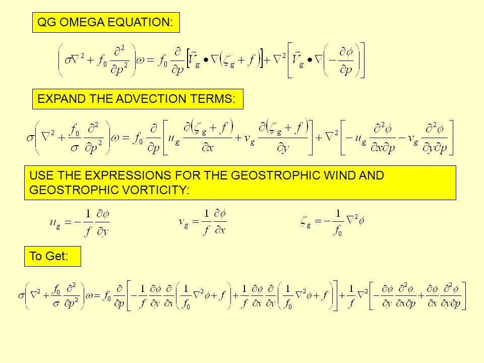 QG OMEGA EQUATION: EXPAND THE ADVECTION TERMS: USE THE EXPRESSIONS FOR THE GEOSTROPHIC WIND AND GEOSTROPHIC VORTICITY: To Get: