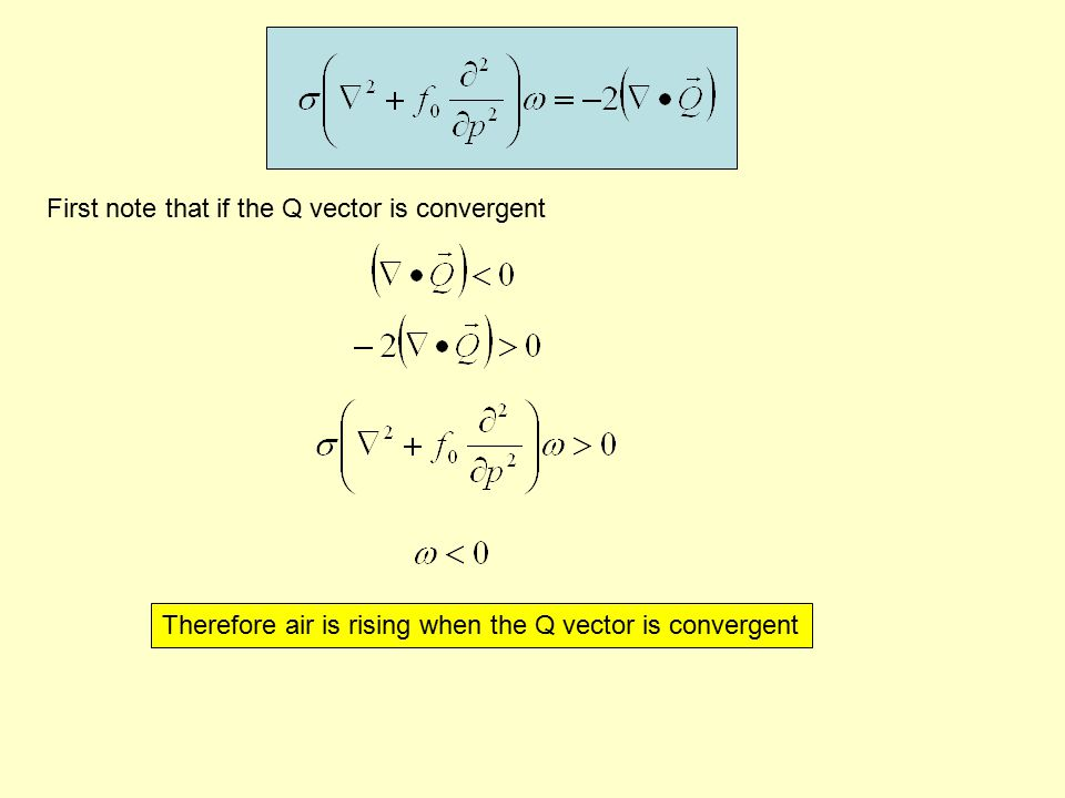 First note that if the Q vector is convergent Therefore air is rising when the Q vector is convergent