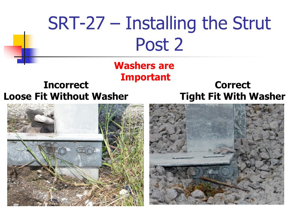 SRT-27 – Installing the Strut Post 2 Washers are Important Incorrect Loose Fit Without Washer Correct Tight Fit With Washer