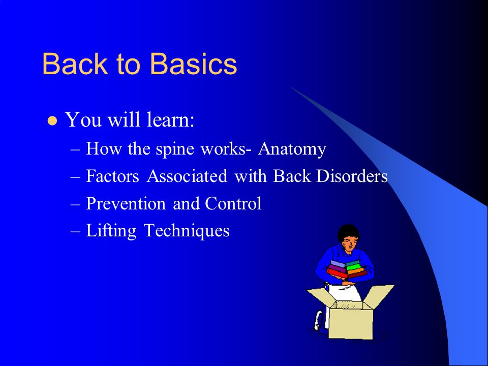 Other Contributing Factors These factors usually account for very few work-related back injuries.