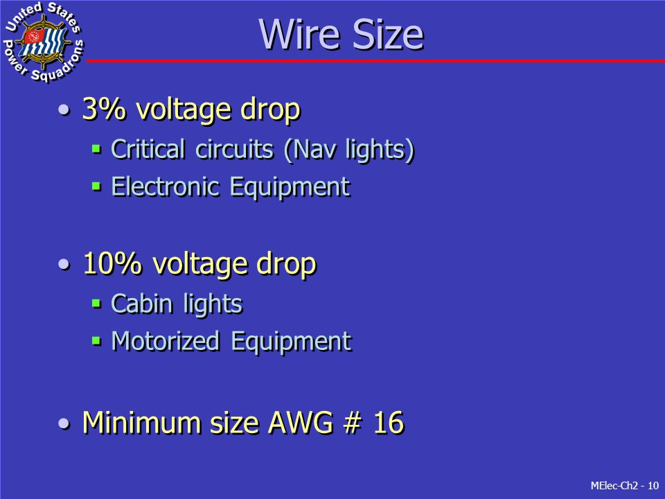 MElec-Ch2 - 10 Wire Size 3% voltage drop  Critical circuits (Nav lights)  Electronic Equipment 10% voltage drop  Cabin lights  Motorized Equipment