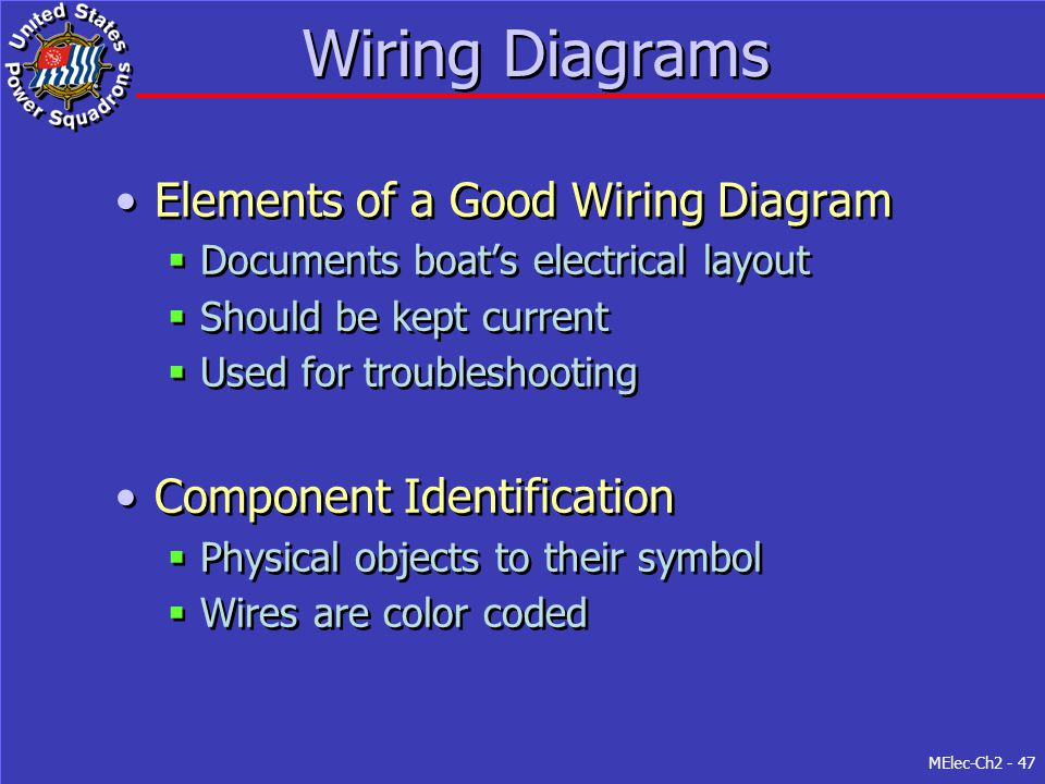 MElec-Ch2 - 47 Wiring Diagrams Elements of a Good Wiring Diagram  Documents boat's electrical layout  Should be kept current  Used for troubleshoot