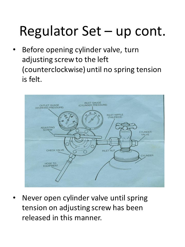 Regulator Set – up cont. Before opening cylinder valve, turn adjusting screw to the left (counterclockwise) until no spring tension is felt. Never ope