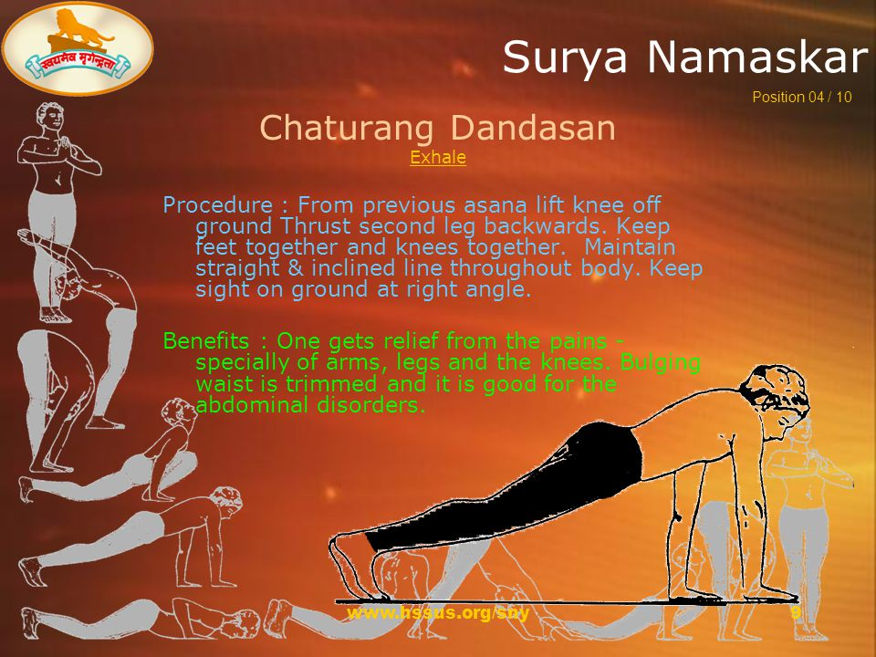 www.hssus.org/sny9 Surya Namaskar Chaturang Dandasan Exhale Procedure : From previous asana lift knee off ground Thrust second leg backwards.