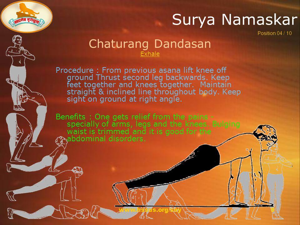 www.hssus.org/sny10 Surya Namaskar Sashtang Pranipatasan Hold Breath Procedure : Lower entire body to the ground slowly.