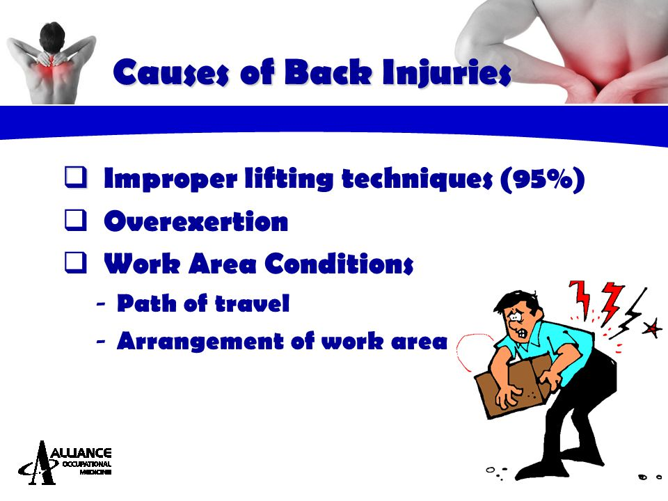 Causes of Back Injuries   Improper lifting techniques (95%)  Overexertion  Work Area Conditions - Path of travel - Arrangement of work area