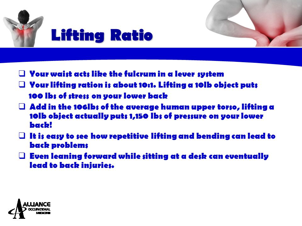  Your waist acts like the fulcrum in a lever system  Your lifting ration is about 10:1. Lifting a 10lb object puts 100 lbs of stress on your lower b