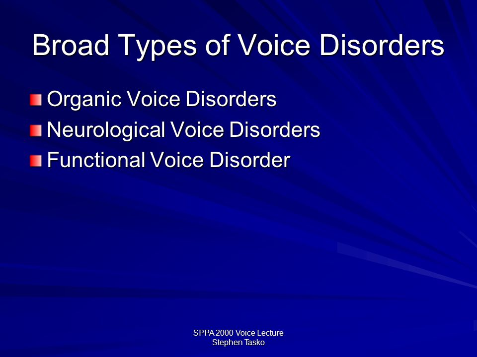 SPPA 2000 Voice Lecture Stephen Tasko How Do We Describe Disordered Voice.