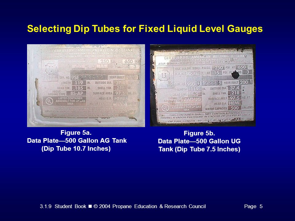 3.1.9 Student Book © 2004 Propane Education & Research CouncilPage 5 Selecting Dip Tubes for Fixed Liquid Level Gauges Figure 5a. Data Plate—500 Gallo