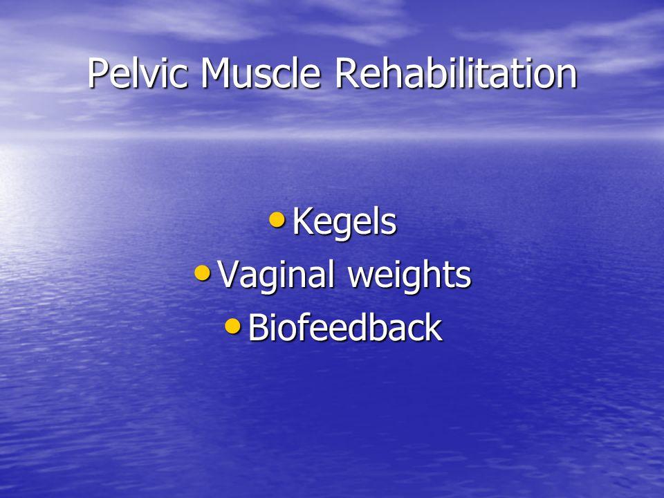 Pelvic Muscle Rehabilitation Kegels Kegels Vaginal weights Vaginal weights Biofeedback Biofeedback