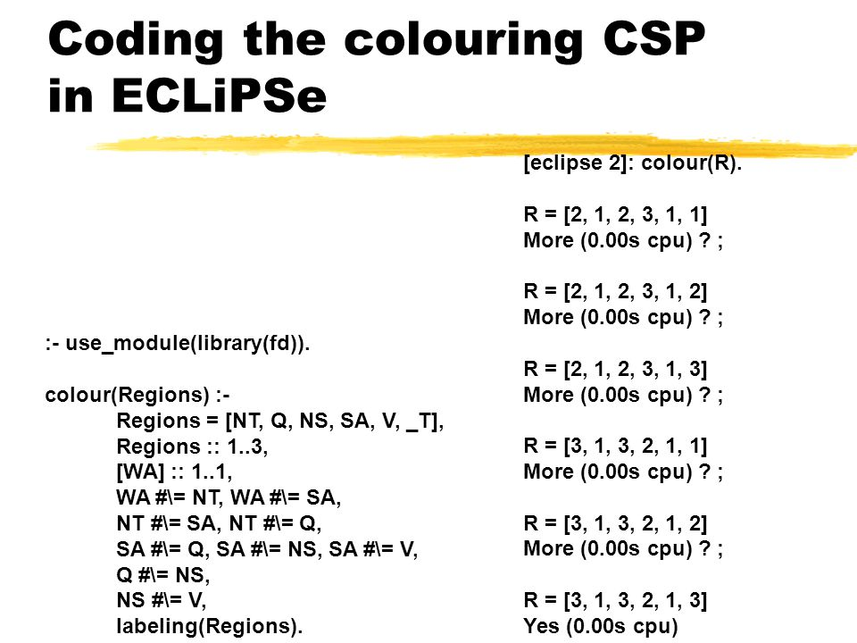 Coding the colouring CSP in ECLiPSe :- use_module(library(fd)).