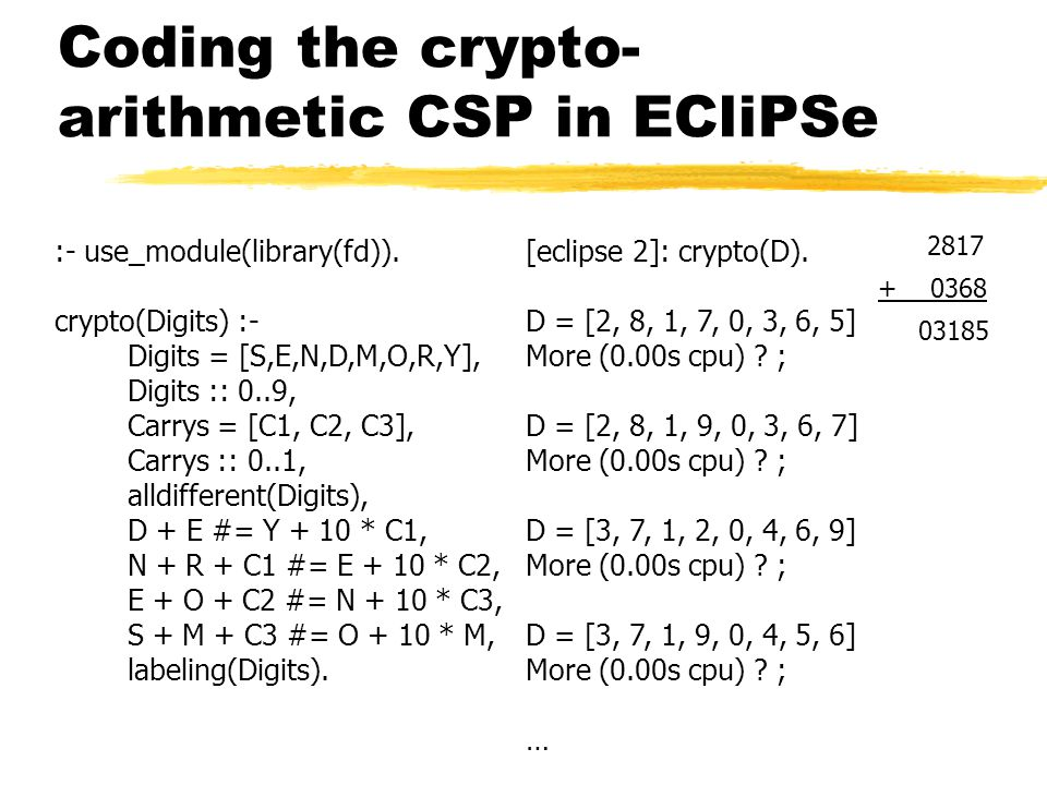 Coding the crypto- arithmetic CSP in ECliPSe :- use_module(library(fd)).