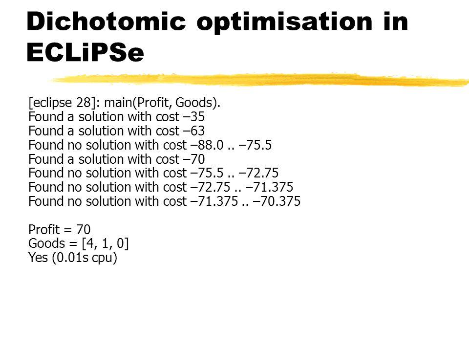 Dichotomic optimisation in ECLiPSe [eclipse 28]: main(Profit, Goods).