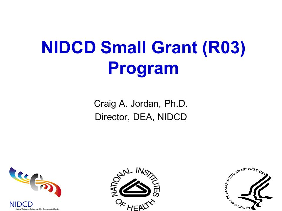 NIDCD Small Grant (R03) Program Craig A. Jordan, Ph.D. Director, DEA, NIDCD
