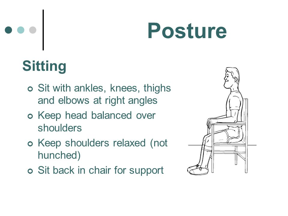 Posture Sit with ankles, knees, thighs and elbows at right angles Keep head balanced over shoulders Keep shoulders relaxed (not hunched) Sit back in c