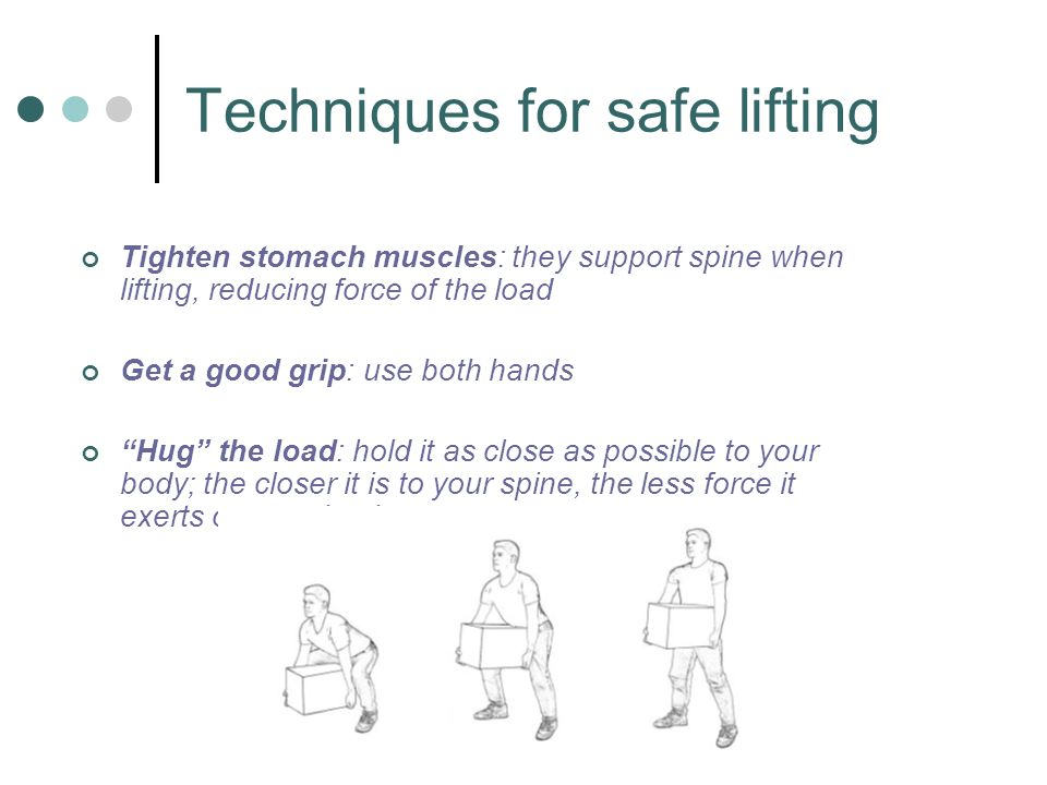 "Tighten stomach muscles: they support spine when lifting, reducing force of the load Get a good grip: use both hands ""Hug"" the load: hold it as close"