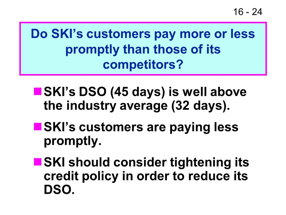 16 - 24 Do SKI's customers pay more or less promptly than those of its competitors.