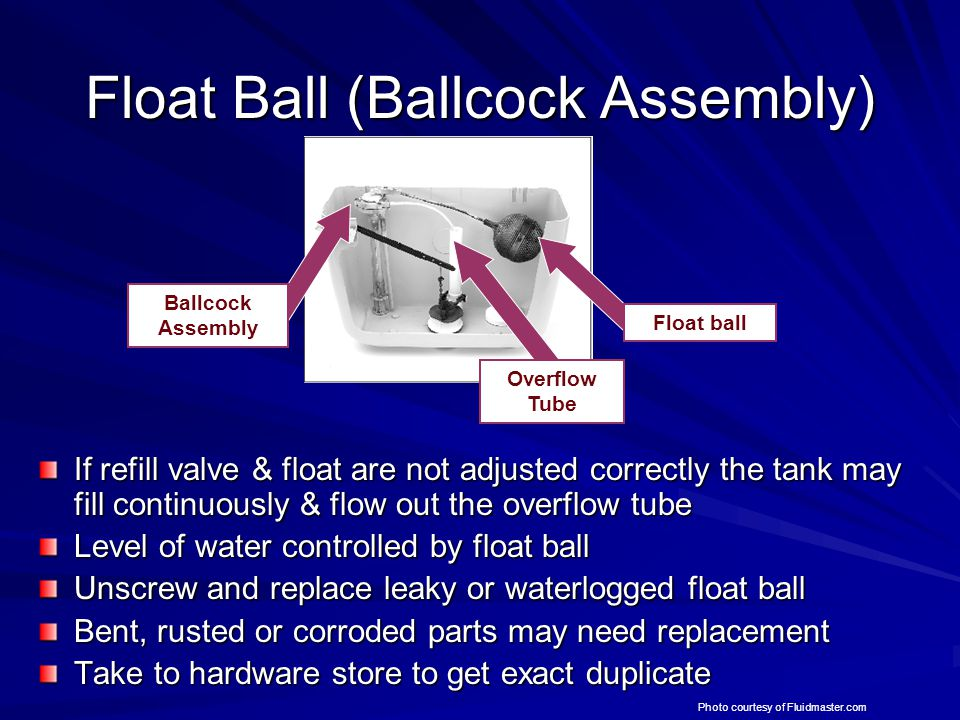 Float Ball (Ballcock Assembly) If refill valve & float are not adjusted correctly the tank may fill continuously & flow out the overflow tube Level of water controlled by float ball Unscrew and replace leaky or waterlogged float ball Bent, rusted or corroded parts may need replacement Take to hardware store to get exact duplicate Overflow Tube Float ball Ballcock Assembly Photo courtesy of Fluidmaster.com