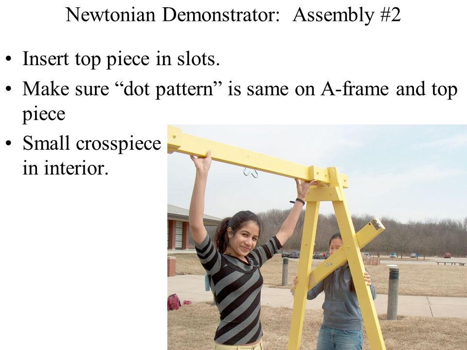 Newtonian Demonstrator: Assembly #2 Insert top piece in slots.