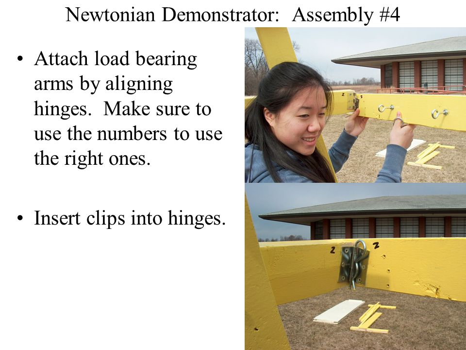 Newtonian Demonstrator: Assembly #4 Attach load bearing arms by aligning hinges.