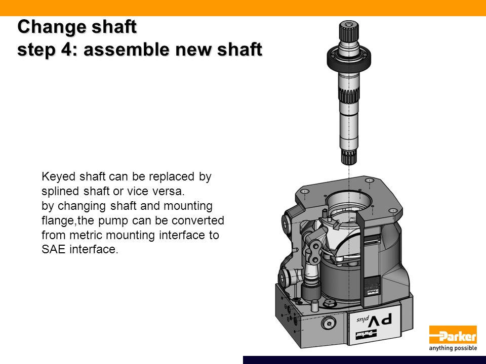 Change shaft step 4: assemble new shaft Keyed shaft can be replaced by splined shaft or vice versa.