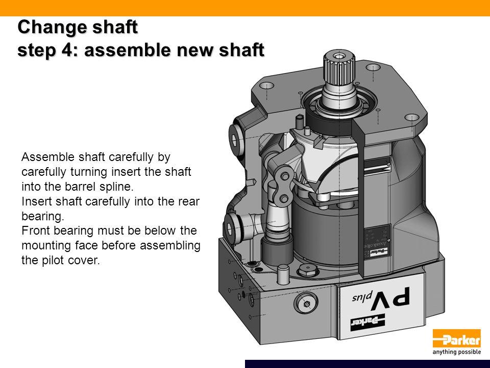 Change shaft step 4: assemble new shaft Assemble shaft carefully by carefully turning insert the shaft into the barrel spline.