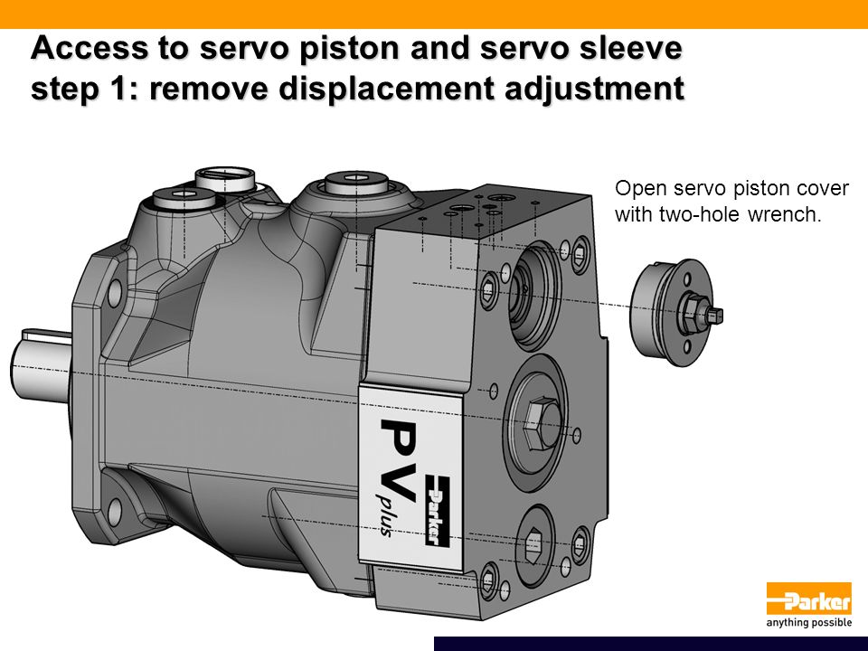 Access to servo piston and servo sleeve step 1: remove displacement adjustment Open servo piston cover with two-hole wrench.