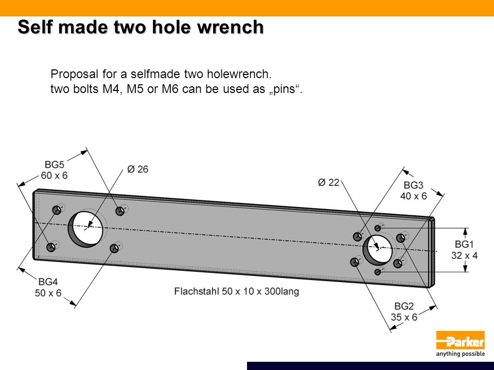 Self made two hole wrench Proposal for a selfmade two holewrench.