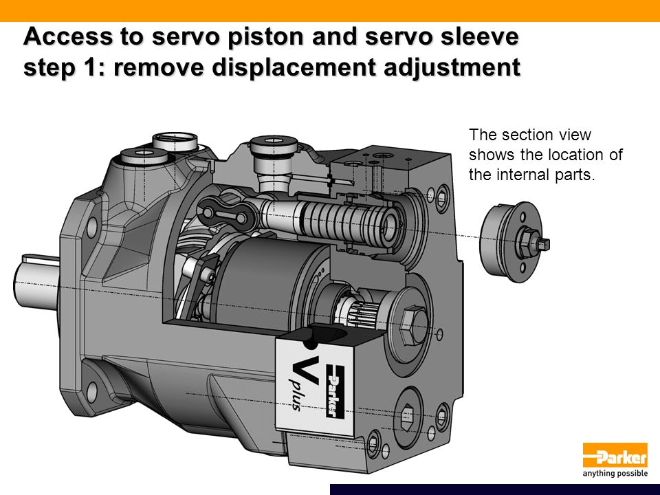Access to servo piston and servo sleeve step 1: remove displacement adjustment The section view shows the location of the internal parts.