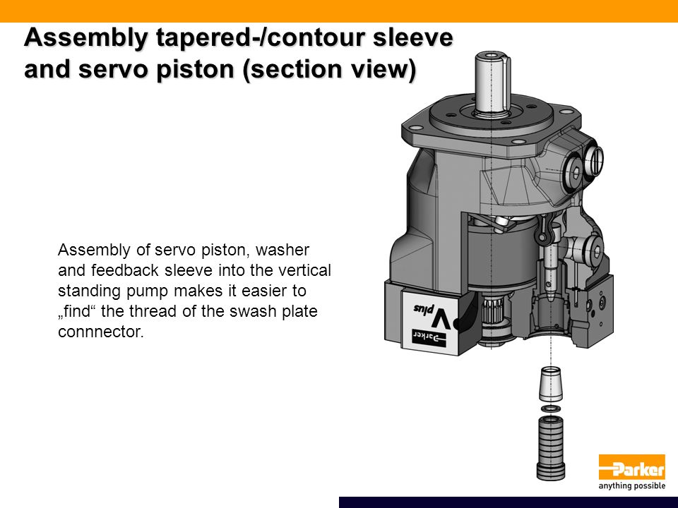 """Assembly tapered-/contour sleeve and servo piston (section view) Assembly of servo piston, washer and feedback sleeve into the vertical standing pump makes it easier to """"find the thread of the swash plate connnector."""