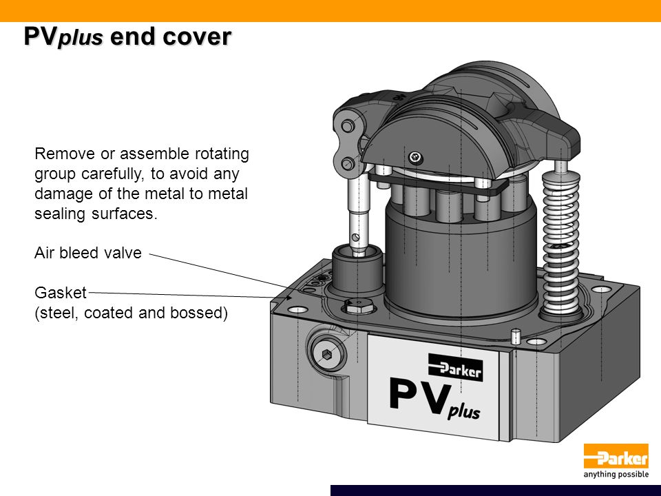 PV plus end cover Remove or assemble rotating group carefully, to avoid any damage of the metal to metal sealing surfaces.