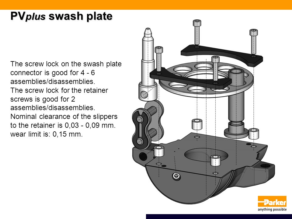 PV plus swash plate The screw lock on the swash plate connector is good for 4 - 6 assemblies/disassemblies.