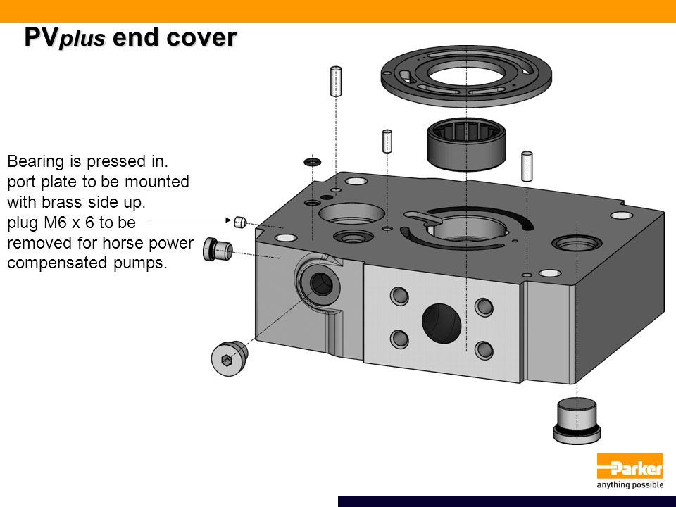 PV plus end cover Bearing is pressed in.port plate to be mounted with brass side up.
