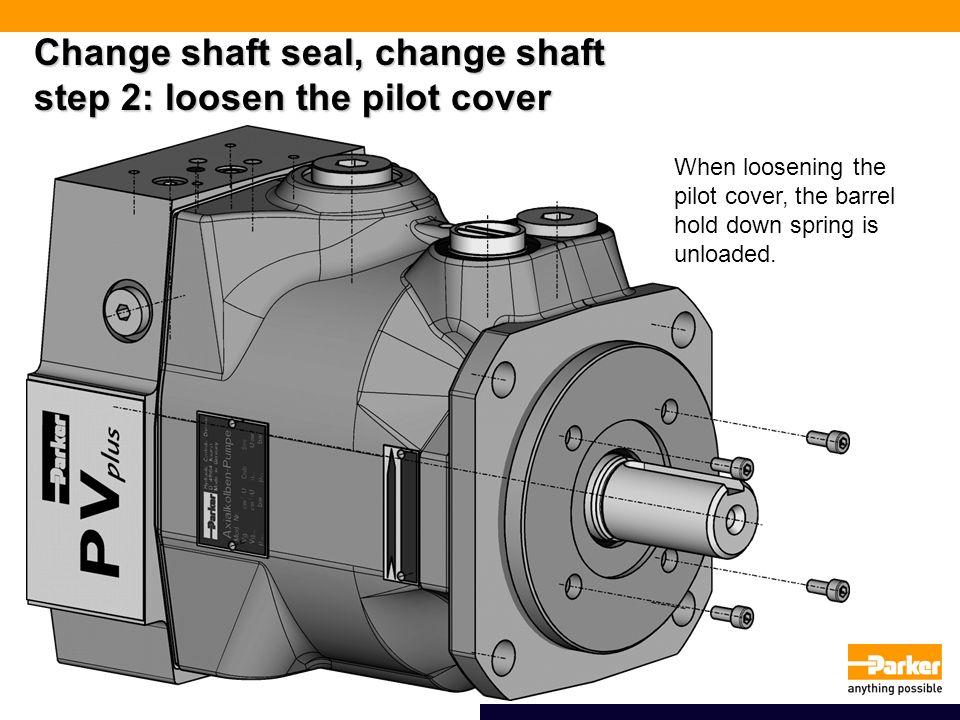 Change shaft seal, change shaft step 2: loosen the pilot cover When loosening the pilot cover, the barrel hold down spring is unloaded.