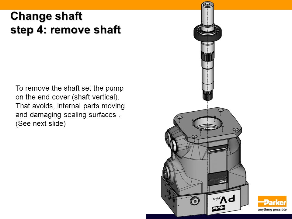 Change shaft step 4: remove shaft To remove the shaft set the pump on the end cover (shaft vertical).