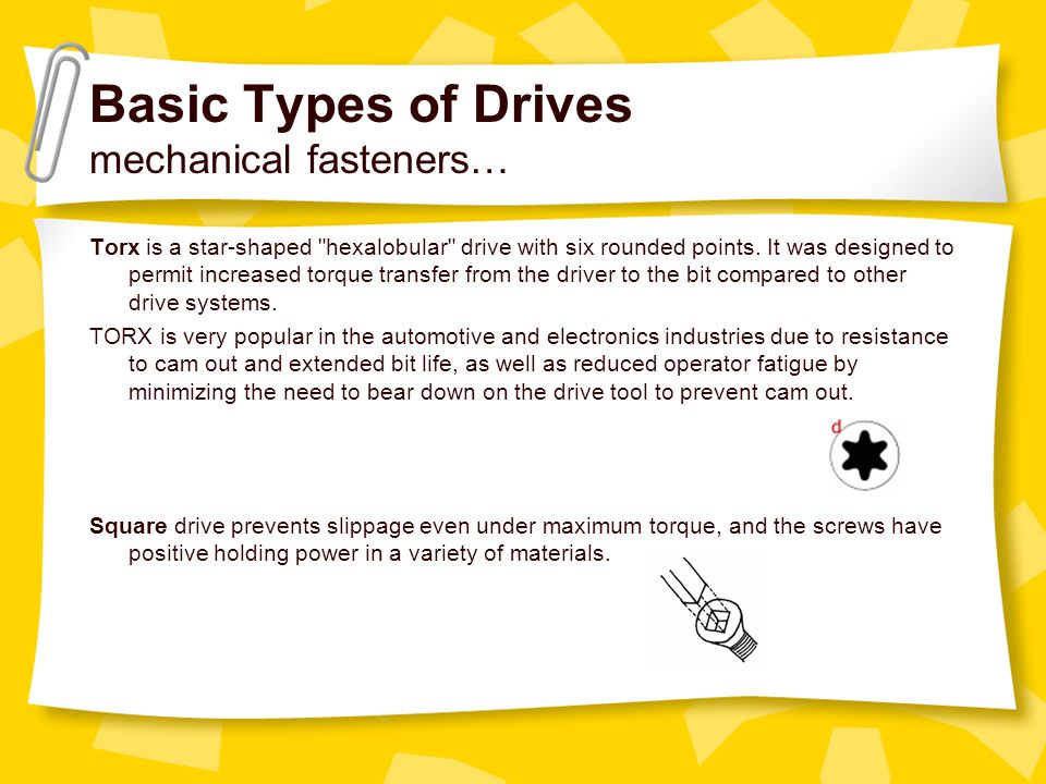 Basic Types of Drives mechanical fasteners… Torx is a star-shaped