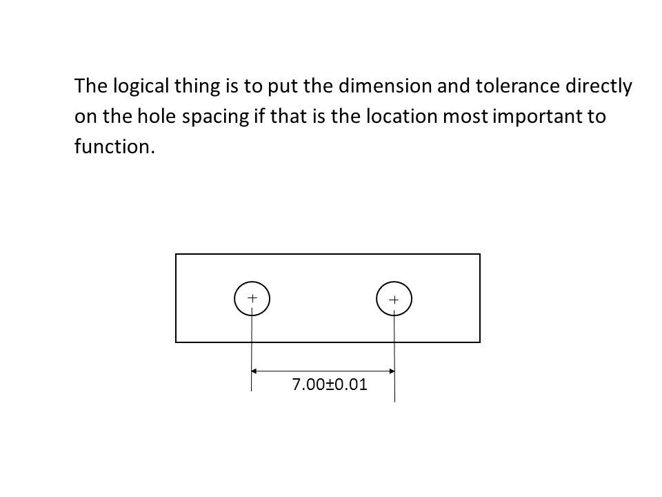 The logical thing is to put the dimension and tolerance directly on the hole spacing if that is the location most important to function.